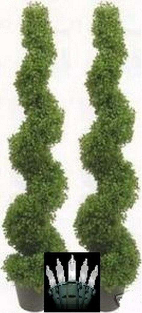 2 BOXWOOD SPIRAL TOPIARY 4' 2  ARTIFICIAL UV OUTDOOR TREE CHRISTMAS LIGHTS 5 3 6