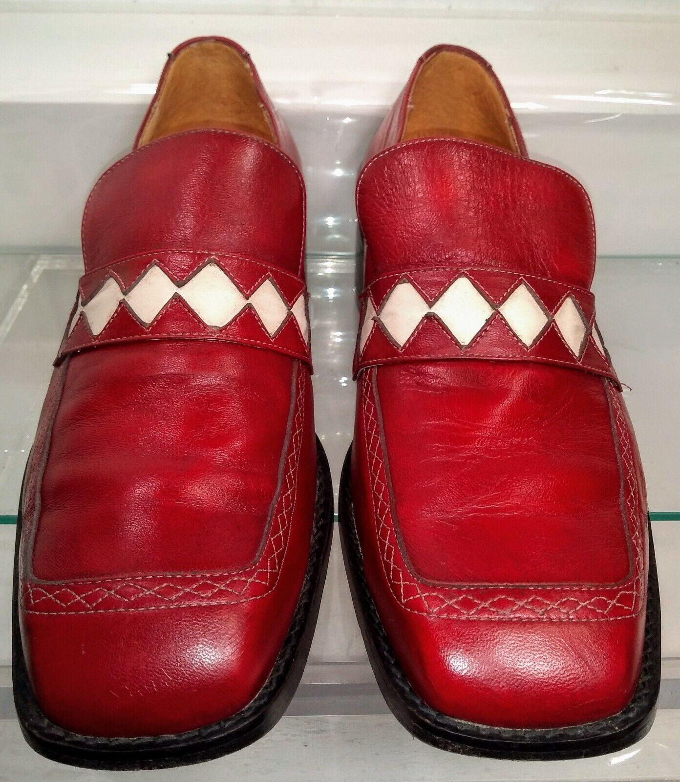Vintage novanta John Fluevog Buick Park Avenue Lofers rosso Men's  11 US RARE  Negozio 2018