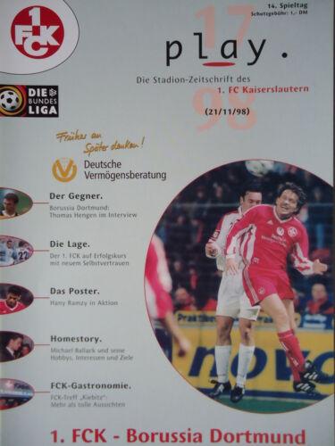 FC Kaiserslautern Programm 1998//99 1 Borussia Dortmund