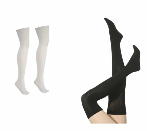 High Quality Cotton Rich White OR Black Over The Knee Socks