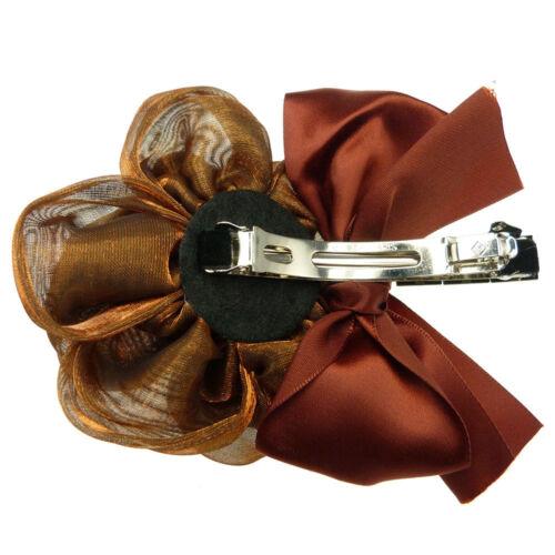 Barrette Pince à Cheveux Fleur organza cuivré noeud satin rouge rouille /& bronze