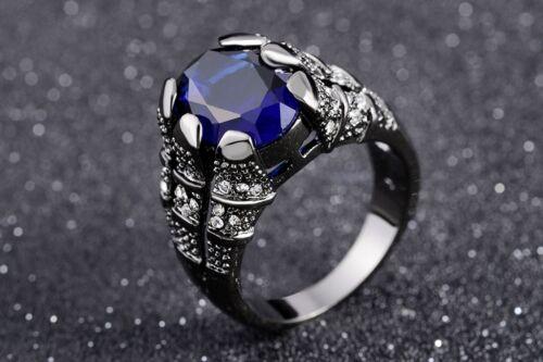 Solitaire Royal Bleu Zircone cubique Homme anneaux de mariage de 18K Black Gold Filled Taille 8-11