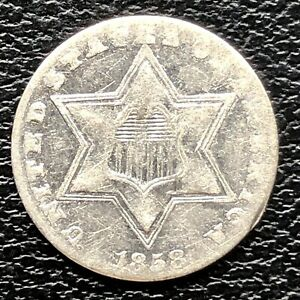 1858 Three Cent Piece Silver Trime 3c High Grade #20192