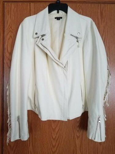 Woman's Faux Leather Fringe Jacket White/Beige XL
