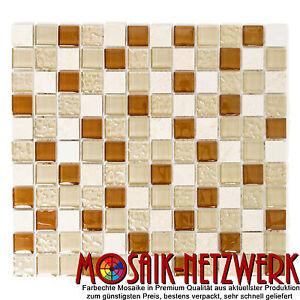 Glas-Naturstein-Mosaik-Fliesen-beige-braun-Bad-Kueche-Bad-WC-Art-WP82-1204-1Matte