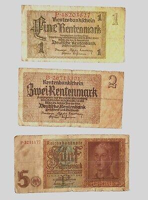 Renten mark 1937-1942,set Bankntes,Banknote Germany,1,2,5 Reichsmark