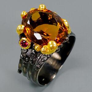 Unique-Natural-Cognac-Quartz-925-Sterling-Silver-Ring-Size-8-R94746