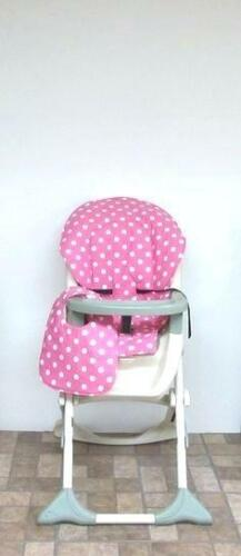 Pink Blue Polka Dot Cushion Pad Mat Seat Liner Cover For Safety 1st High Chairs