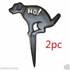 ( 2pc )  No Pooping -  Naughty Dog Black Yard Sign, Cast Iron