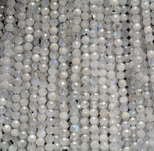 4MM  RAINBOW MOONSTONE GEMSTONE GRADE AAA MICRO FACETED ROUND LOOSE BEADS 15/""