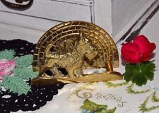 Vintage brass scottie dog westie terrier small letter rack napkin holder gift?