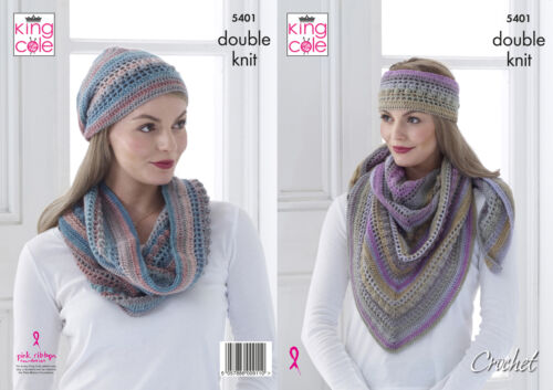 King Cole Ladies Double Knit Crochet Pattern Womens Shawl Cowl Hat Headband 5401