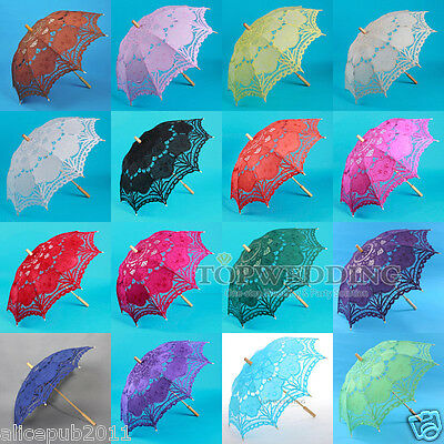 Handmade Embroidery Battenburg Lace Wedding Parasol Bridal Party Decor Umbrella