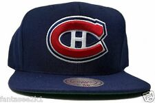 Montreal Canadiens Mitchell & Ness Vintage Solid Wool Blue Snapback Hat Cap NHL