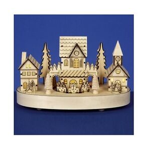 Christmas Decoration  Premier 27cm Musical Rotating Wooden Houses Scene Village - Wiltshire, United Kingdom - Christmas Decoration  Premier 27cm Musical Rotating Wooden Houses Scene Village - Wiltshire, United Kingdom