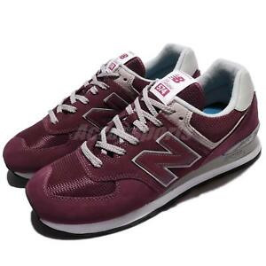 New Balance ML574EGB D 574 Dark Red Grey Men Running Shoes Sneakers ... d62f452c985
