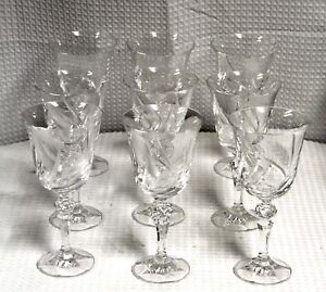 Vintage-Cut-amp-Etched-Lead-Crystal-Red-Wine-Glasses-Set-of-9-in-Wheat-Pattern
