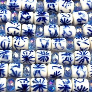 Blue White China Fish Scales Motif 14x9mm Tube Cylinder Ceramic Beads Q2 Strands