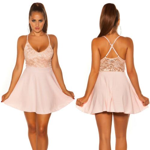Koucla Damen Kleid V-Cut Etuikleid Minikleid mit Spitze
