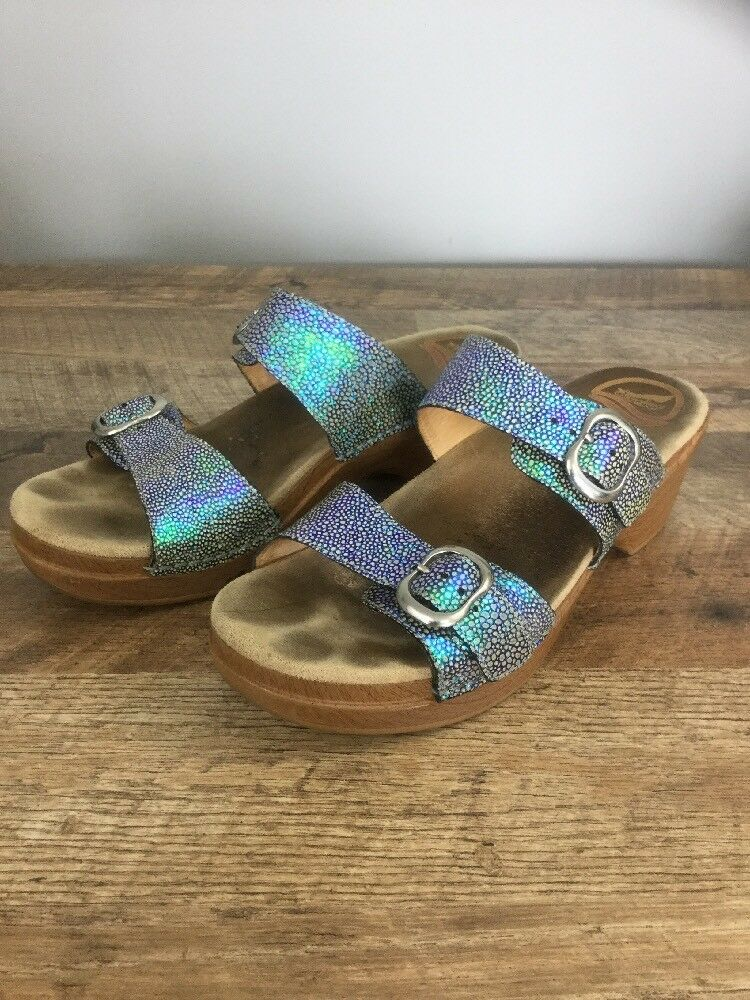 Dansko Sophie bluee Green Iridescent Metallic Slip On Sandals US 9.5-10