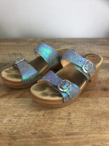 Dansko-Sophie-Blue-Green-Iridescent-Metallic-Slip-On-Sandals-EU-40-US-9-5-10