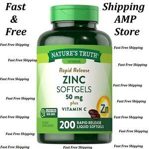 Nature's Truth Zinc 50mg + Vitamin C Softgels (200 ct.) Fast Free Shipping