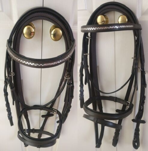 NEW Silver Leather Padded Bridle With FREE Rubber Reins All Sizes Black or Brown