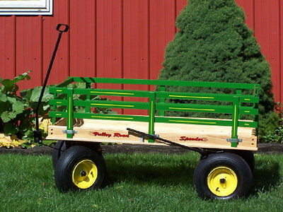 HUGE WAGON 4 FEET with Hand Brake Beach Garden Wood & Poly Toy Amish USA MADE