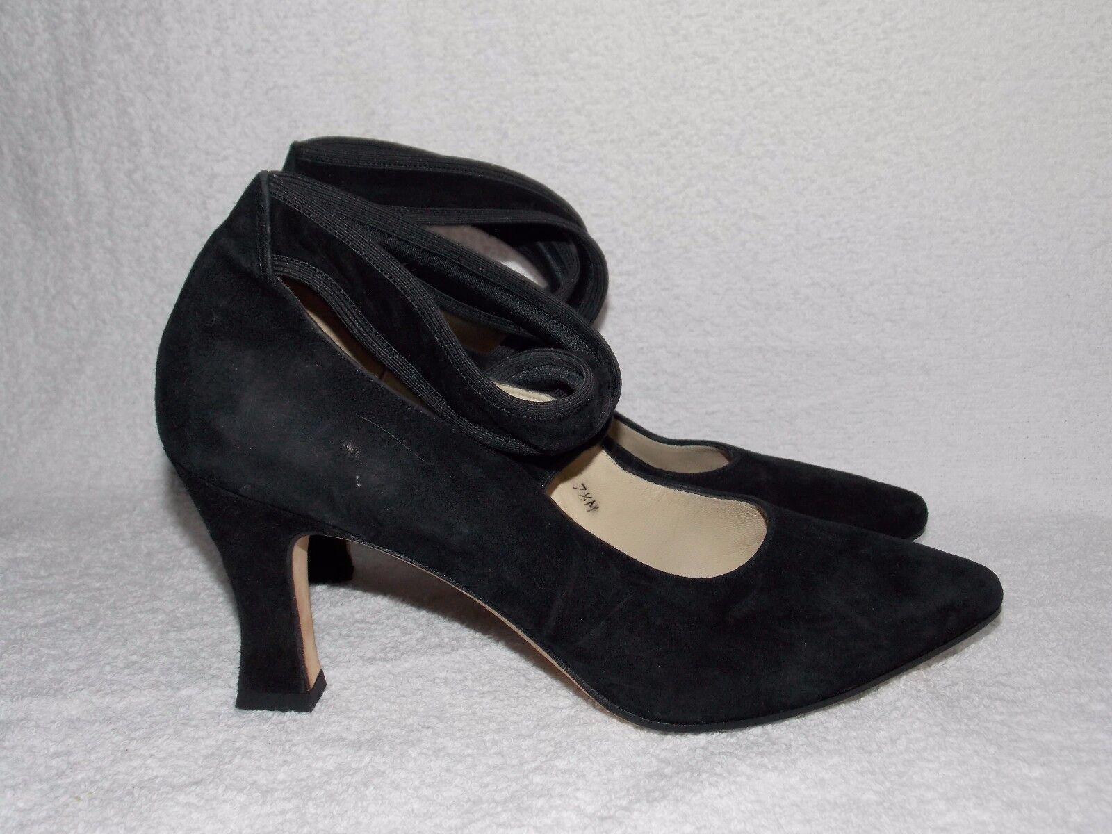 Larry Stuart Black Suede Heels CRISS CROSS Straps Slip On Heels 7.5M Used