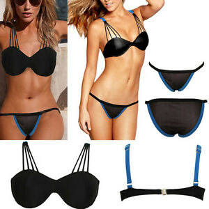 44478a04d5158 Image is loading 2pc-Black-Geometric-Thin-Straps-Bralette-Swimsuit-Bikini-