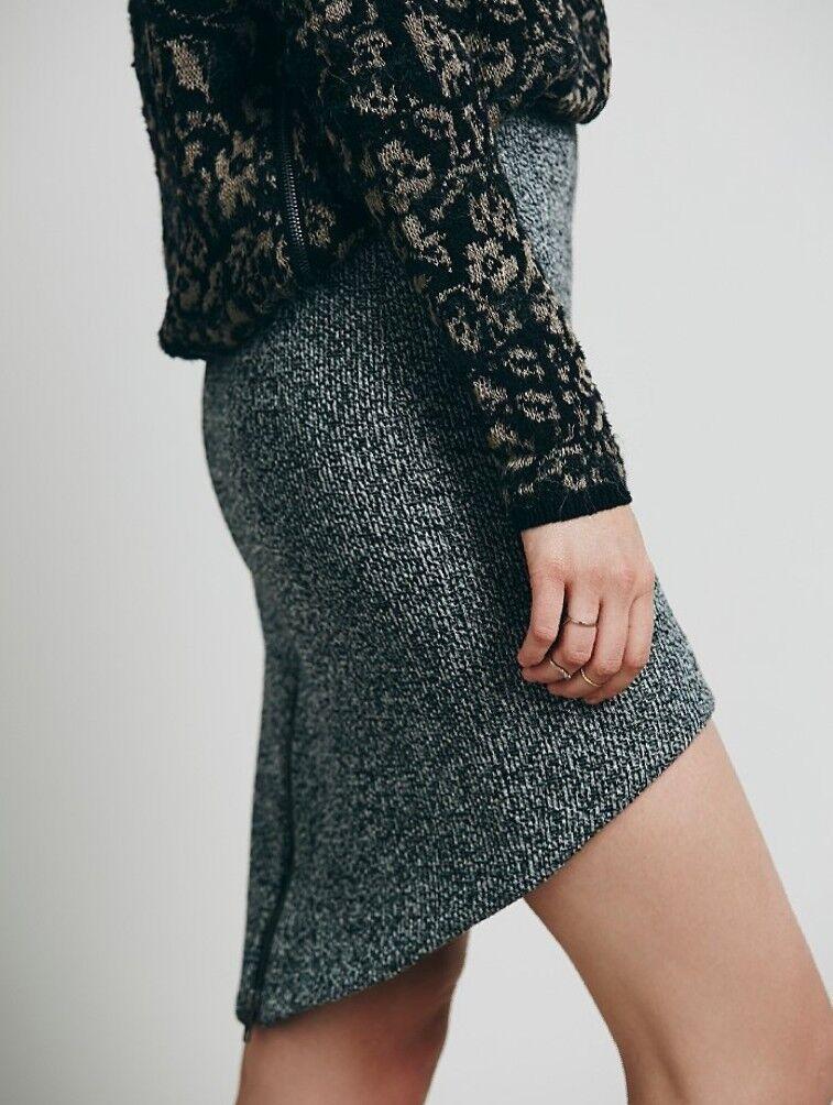Free People Wildfire Skirt  Hi-Lo Rounded Hem Knit Tweed Large Finders keepers