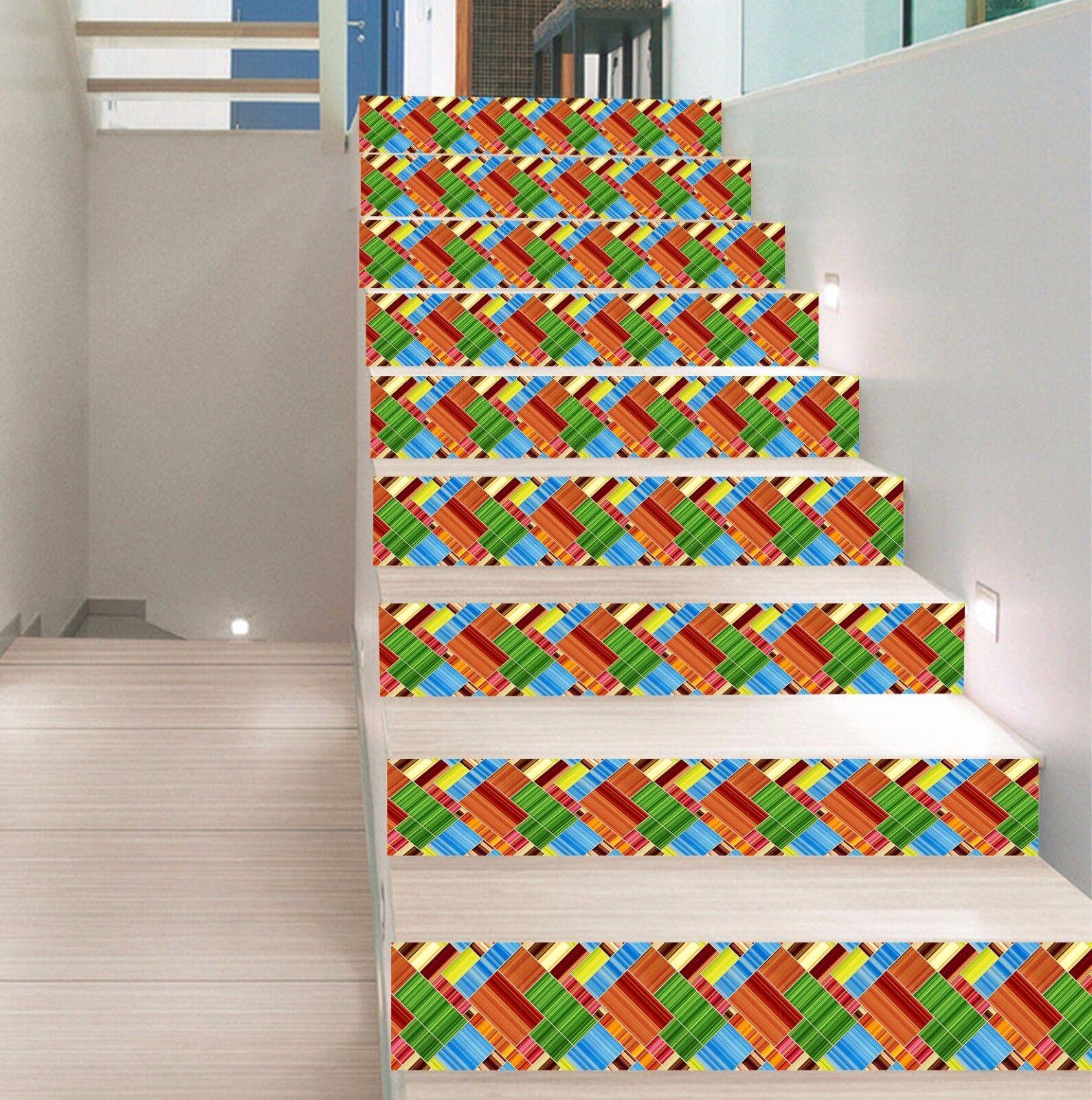 3D Plaid Muster 379 Stair Risers Dekoration Fototapete Vinyl Aufkleber Tapete DE