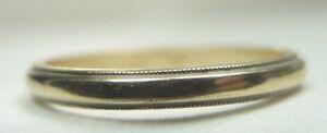 Antique-Art-Deco-Vintage-Wedding-Band-14K-Yellow-Gold-Ring-Size-6-5-UK-M1-2-Fine
