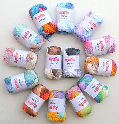 8,40€/100g Katia Jaipur 50g feines Baumwollgarn mit Farbverlauf Stricken, Häkeln