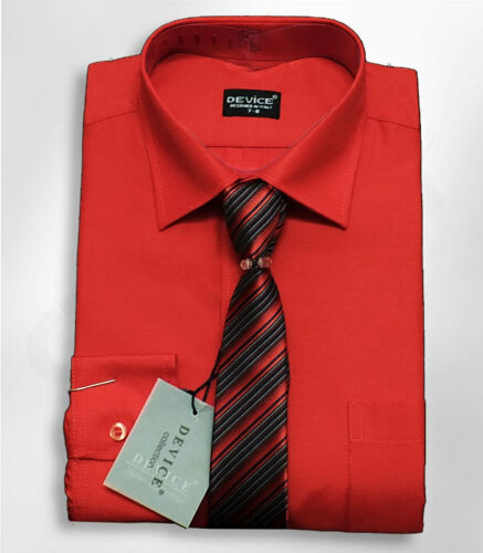 Boys Red Formal Kids Shirt And Tie Set Page Boy Wedding Prom Device Suit Shirts