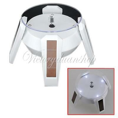 Solar Powered Jewelry Rotating Display Stand Turn Table With LED Light White NEW