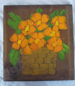 Kitchen-Painting-on-Wood-Wall-Plaque-Orange-Flowers-in-Basket-Signed-Bobbi
