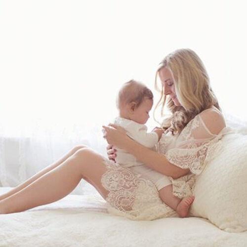 Lace Beach Long xl Sexy Maternity Photo Dress White Transperant Puntelli M dAaWnqH