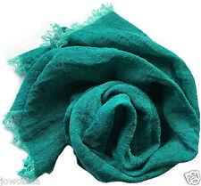 Leinen Schal mit Fransen aus 100% gewaschenem  Leinen (48 x 170 cm) türkis/grün