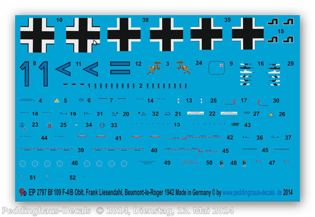 Peddinghaus 2797 2797 2797 1 72 Bf 109 F-4 B oblt. FRANK lissendahl bae5fd