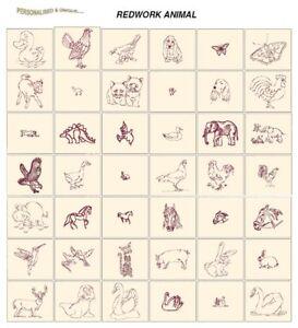REDWORK ANIMALS CARD machine embroidery designs jef files for janome 300e
