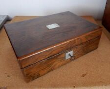 Antique Victorian walnut Jewellery   /Trinket box MOP inlay with key 23 x 16cm