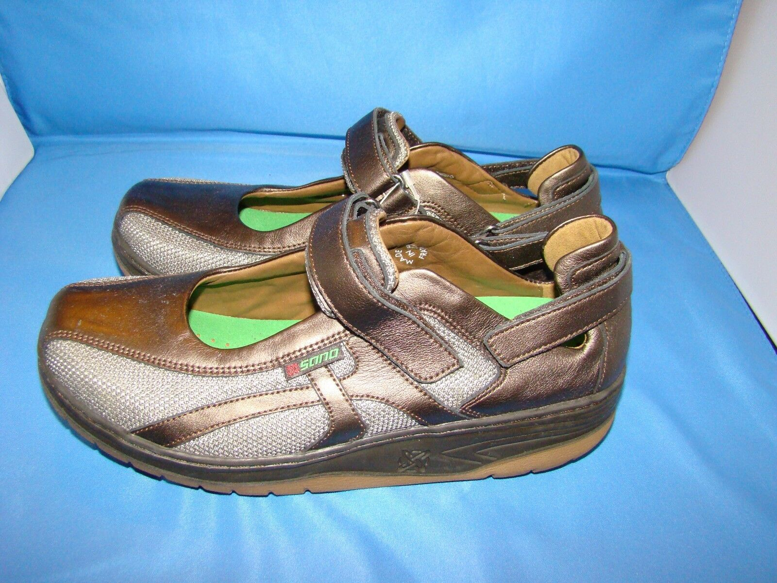Women's Sano By Mephisto Excess Mary Jane Shoes Size-8 Bronze Perl Calfskin