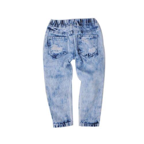 2pcs Kids Baby Girls Off Shoulder Tops+Hole Denim Pants Kids Fashion Clothes