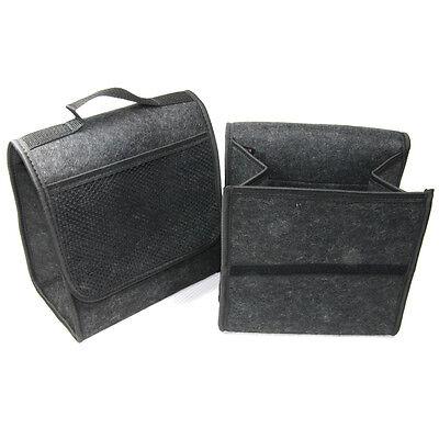 2x BLACK CARPET CAR ORGANISER STORAGE TIDY BOOT BAG CARE NEW