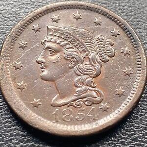 1854-Large-Cent-Braided-Hair-One-Cent-1c-BIG-DIE-BREAK-High-Grade-AU-25372