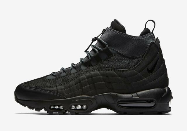 7d087deaa0fe4 NIKE AIR MAX 95 SNEAKERBOOT 806809 001 TRIPLE ALL BLACK ANTHRACITE  GREY WHITE