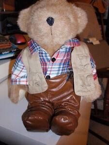 Vintage 1992 Tender Heart Treasures Plush Fisherman Bear w.Stand