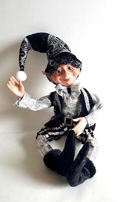 Christmas elf,tree ornament,black and white elf Floridus elf Ryder 20/""