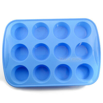 NEW 12-CAV Pudding Jelly Pastry Muffin Cup Cake Silicone Baking Mold Pan Tray